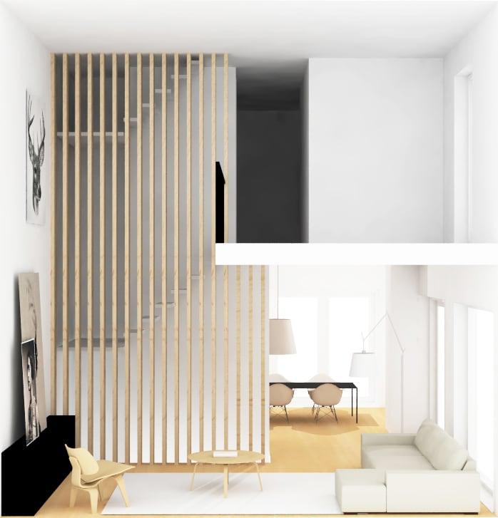 Ontwerp woonkamer met vide en houten afscheiding trap