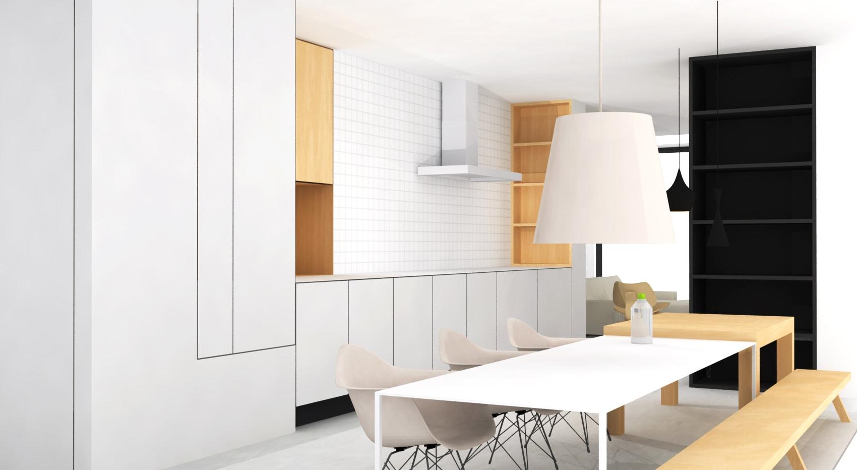 Moderne witte rechte keuken met vierkante tegels zonder bovenkastjes