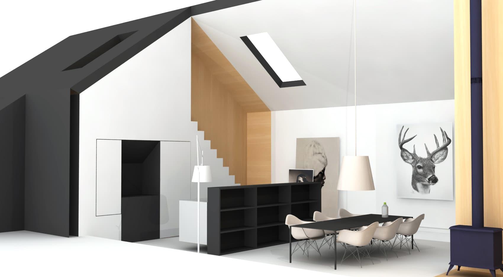Woonhuis met multiplex interieur en hoge ruimten