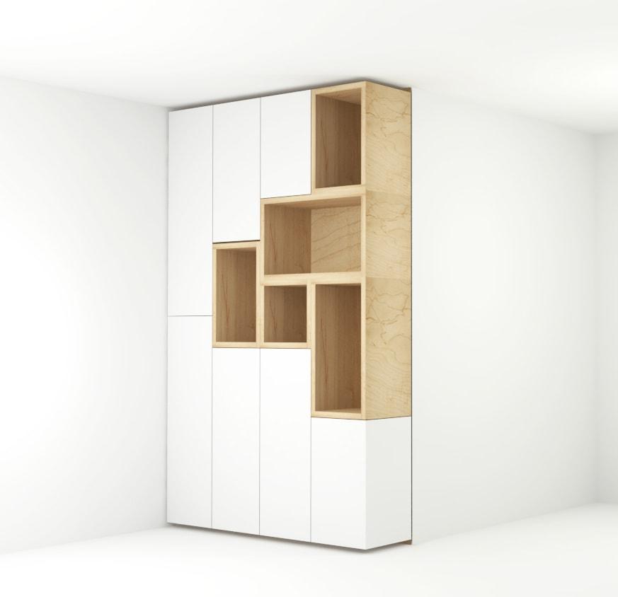 Ontwerp greeploze kast met lichte houten open vakken