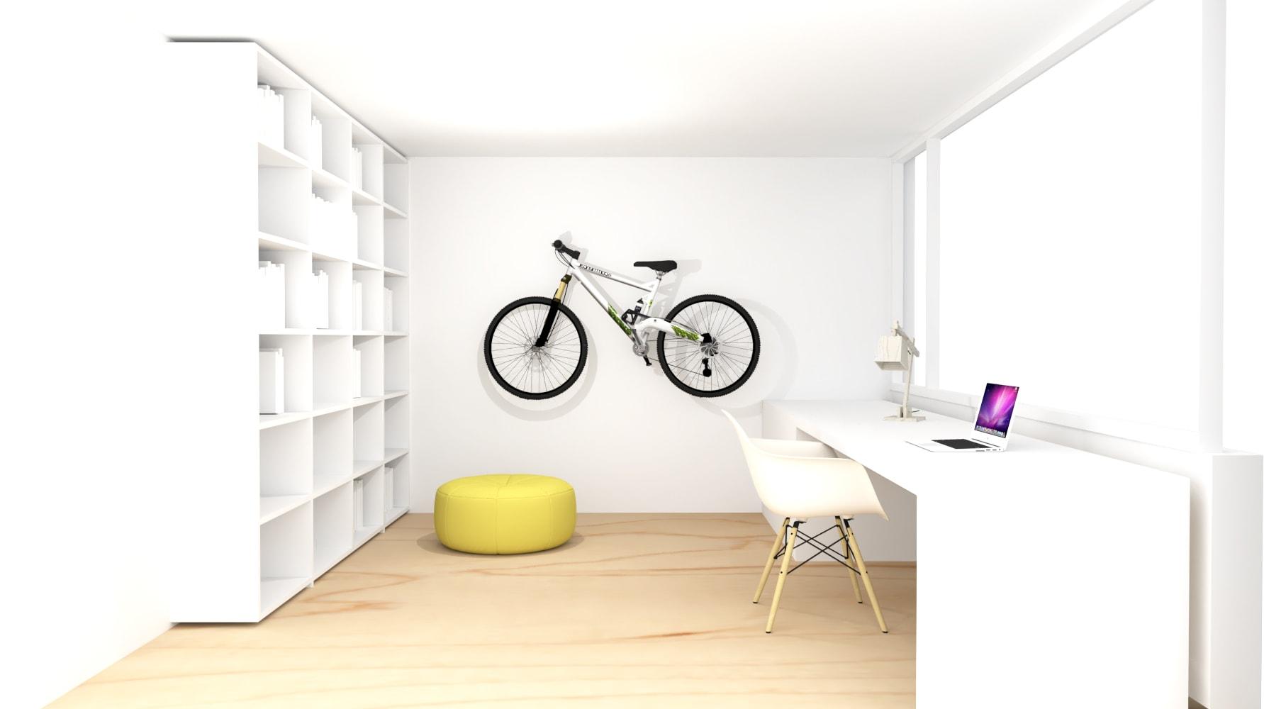 Ontwerp lichte werkplek met bureau voor het raam en veel opbergruimte