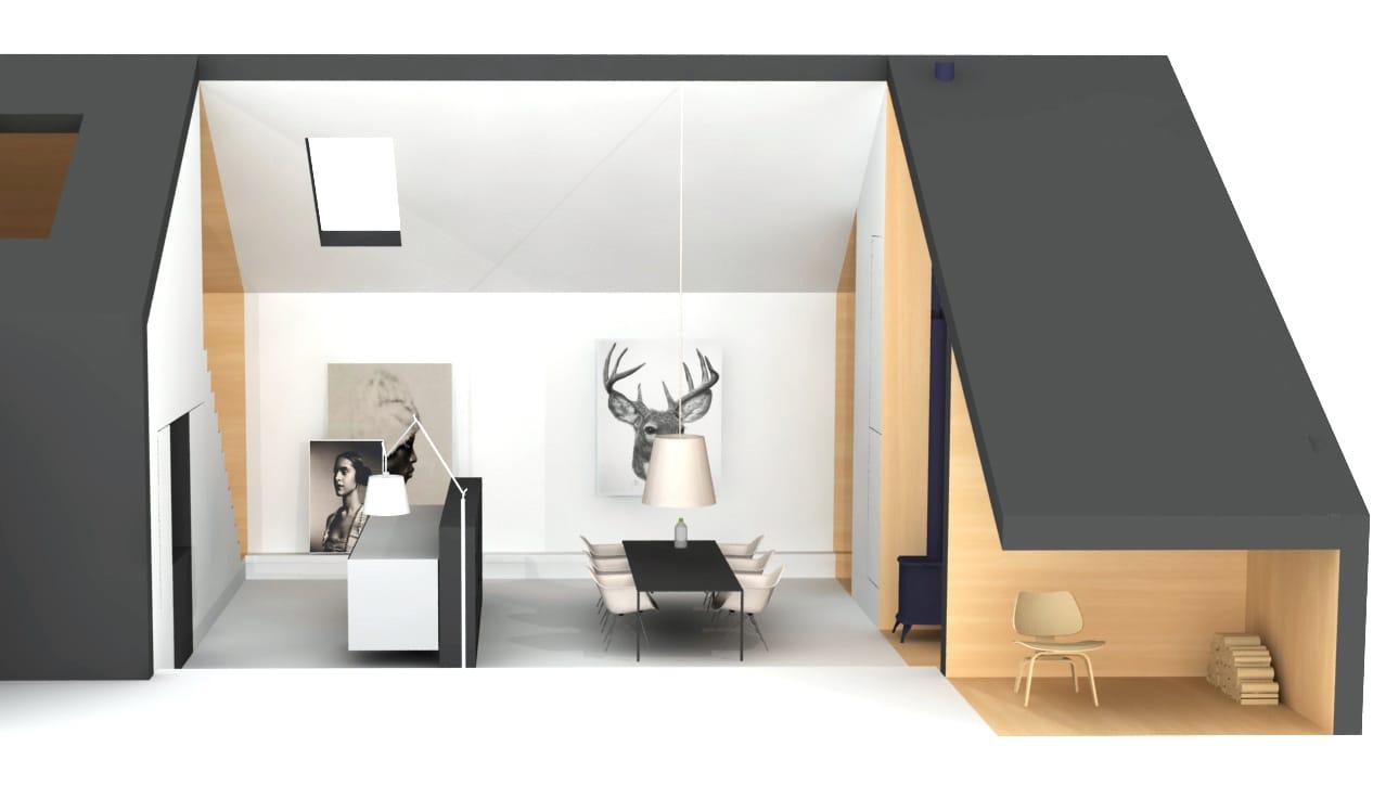 Woonhuis met multiplex interieur en hoge ruimte